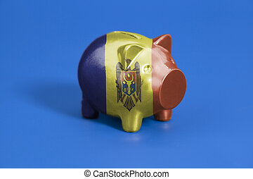Piggy bank with Moldova flag
