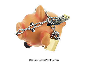 piggy bank with money chain and dollar