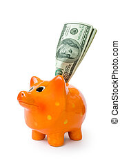 money - piggy bank with money isolated on white