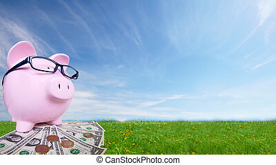 Piggy bank with money. Saving account concept background.