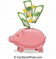 Piggy bank with money vector illustration