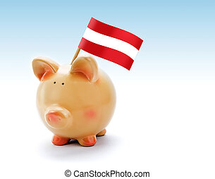 Piggy bank with national flag of Austria