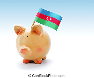 Piggy bank with national flag of Azerbaijan