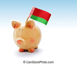 Piggy bank with national flag of Belarus