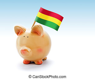 Piggy bank with national flag of Bolivia