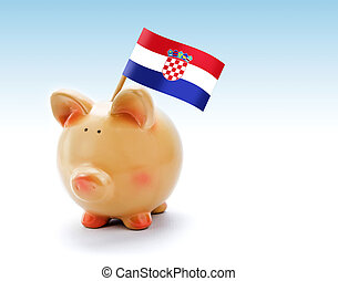 Piggy bank with national flag of Croatia