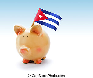 Piggy bank with national flag of Cuba