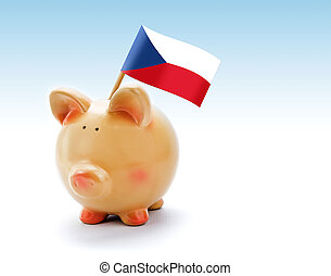 Piggy bank with national flag of Czech Republic