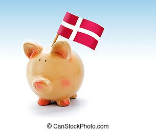 Piggy bank with national flag of Denmark