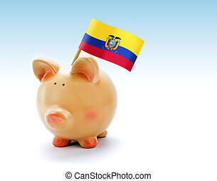 Piggy bank with national flag of Ecuador