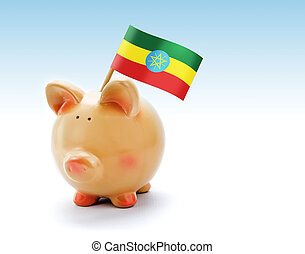 Piggy bank with national flag of Ethiopia
