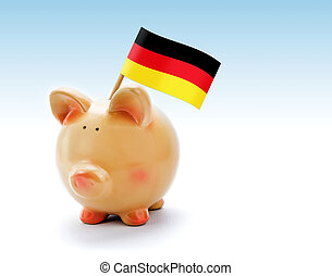 Piggy bank with national flag of Germany