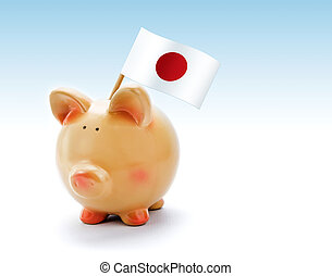 Piggy bank with national flag of Japan