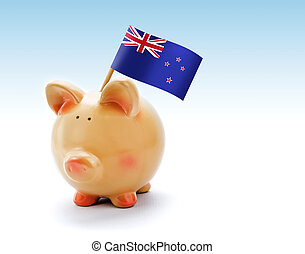 Piggy bank with national flag of New Zealand