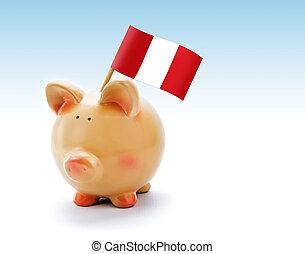 Piggy bank with national flag of Peru