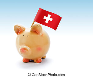 Piggy bank with national flag of Switzerland