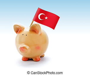 Piggy bank with national flag of Turkey