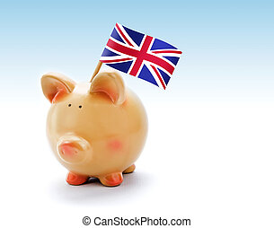 Piggy bank with national flag of United Kingdom