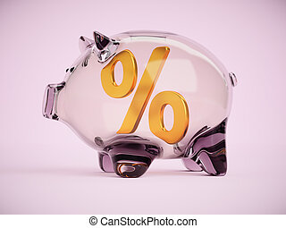 Piggy bank with percentage sign inside 3d illustration