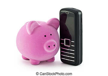 Piggy bank with phone