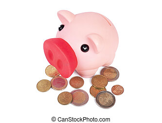 Piggy bank with pile of euro coins