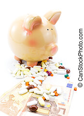 Piggy bank with pile of pills and banknotes isolated