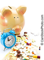 Piggy bank with pile of pills, bank