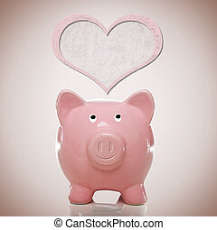 Piggy bank with pink heart