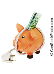 Piggy bank with power cord and plug