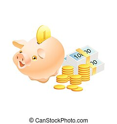 Piggy bank with realistic golden coins isolated on white background vector illustration