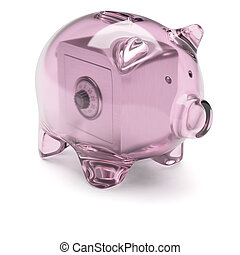 Piggy bank with safe box inside isolated on white