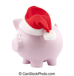 Piggy bank with Santa Claus hat