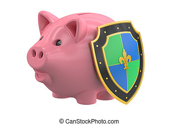 piggy bank with shield, financial insurance and business stability concept. 3D rendering