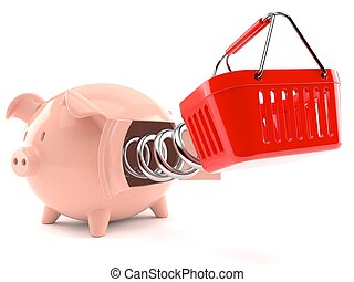 Piggy bank with shopping basket