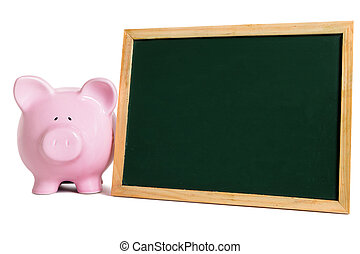 Piggy bank with small blank blackboard, isolated on white background