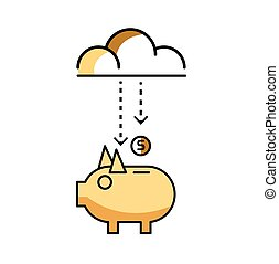 Piggy bank with stock of money and clouds.