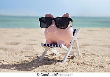 Piggy Bank With Sunglasses - Piggy Bank On Deckchair With...