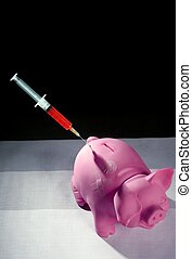 piggy bank with syringe, financial metaphor