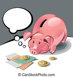 Piggy Bank with Text Bubble, Coins and Banknotes. Vector...