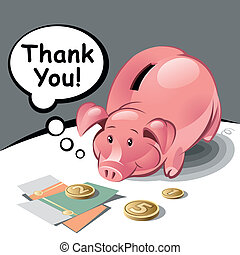 Piggy Bank with Text Bubble, Coins and Banknotes. Vector ...