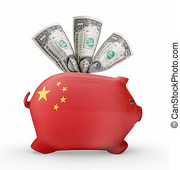 Piggy bank with the flag of China .(series)