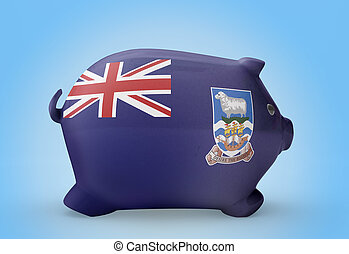 Piggy bank with the flag of Falkland Islands .(series)