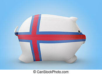 Piggy bank with the flag of Faroe Islands .(series)