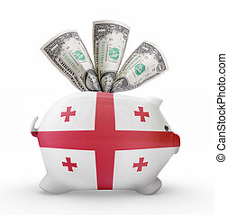 Piggy bank with the flag of Georgia .(series)