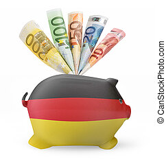 Piggy bank with the flag of Germany .(series)