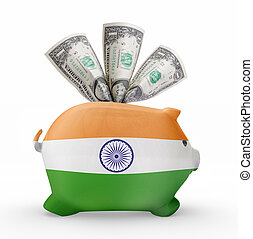 Piggy bank with the flag of India .(series)