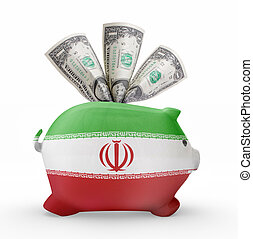 Piggy bank with the flag of Iran .(series)