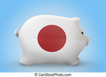 Piggy bank with the flag of Japan .(series)