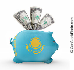 Piggy bank with the flag of Kazakhstan .(series)