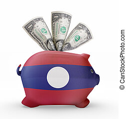 Piggy bank with the flag of Laos .(series)